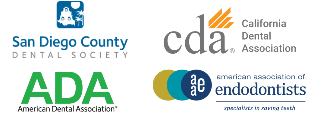 Dentistry Logos: San Diego County Dental Society, California Dental Association, American Dental Asssociation, American Association Of Endodontists